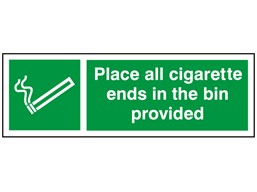 Place all your cigarette ends in the bin provided
