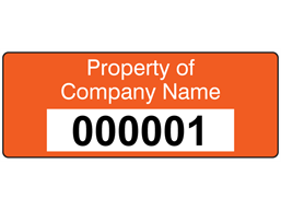 Assetmark+ serial number label (text on colour), 19mm x 50mm
