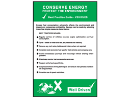 Conserve energy vehicles sign.