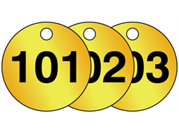 Brass valve tags, numbered 101-125