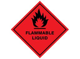 Flammable liquid hazard warning diamond sign