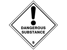 Dangerous substance 9 hazard warning diamond sign