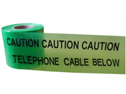 Caution telephone cable below tape.
