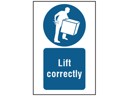 Lift correctly symbol and text safety sign.
