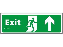 Exit, running man, arrow up sign.