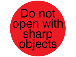 Do not open with sharp objects packaging label