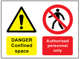 Danger confined space, authorised personnel only safety sign.