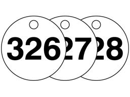 Plastic valve tags, numbered 326-350