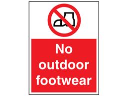No outdoor footwear sign.