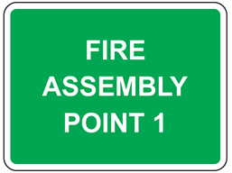 Fire assembly point, with number or letter as required sign