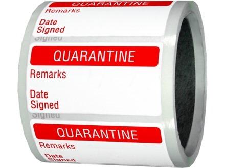 Quarantine quality assurance label