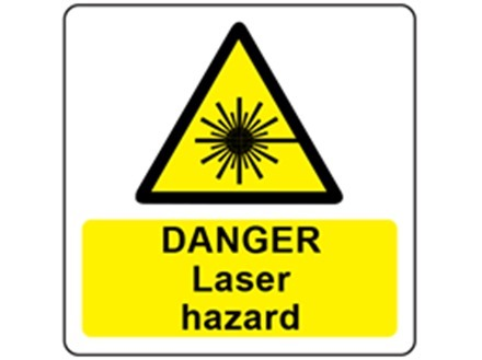 Danger laser hazard symbol and text safety label.