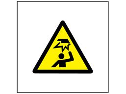 Risk of overhead hazard symbol safety sign.