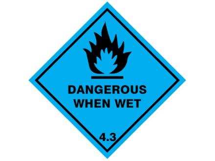 Dangerous when wet, class 4.3, hazard diamond label