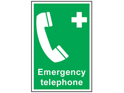 Emergency telephone symbol and text safety sign.