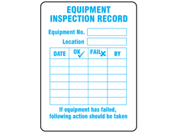 Equipment inspection record label