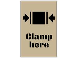 Clamp here stencil