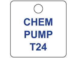 Custom engraved tag, 32mm x 32mm, three line text
