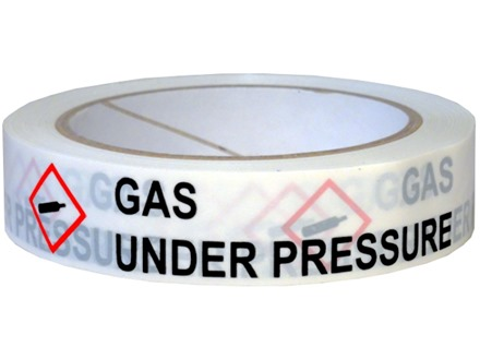 Gas under pressure GHS tape.
