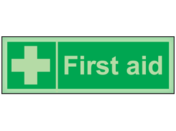 First aid photoluminescent safety sign