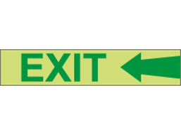Photoluminescent Exit and arrow left tape