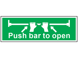 Push bar to open symbol and text safety sign.