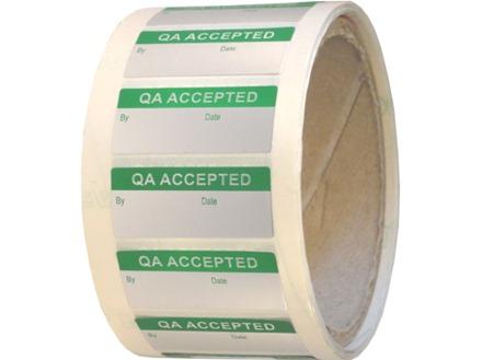 QA accepted aluminium foil labels.