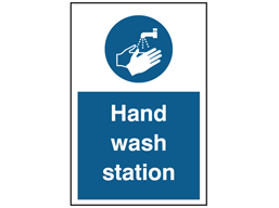 Hand wash station symbol and text sign