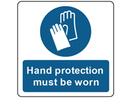 Hand protection must be worn symbol and text safety label.