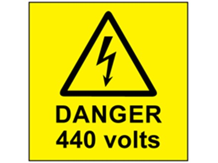 Danger 440 volts label
