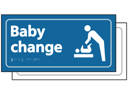 Baby changing room sign.