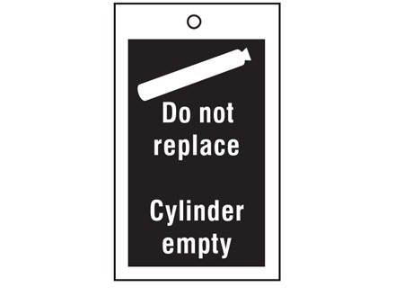 Gas cylinder replacement symbol and text tag.