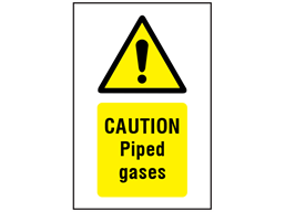 Caution Piped gases symbol and text safety sign.