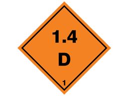Explosive 1.4 D hazard warning diamond sign