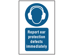 Report ear protection defects immediately symbol and text safety sign.