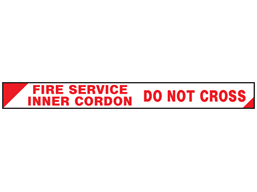 Fire service inner cordon, do not cross barrier tape