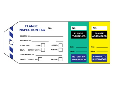 Flange inspection tag (three part) with serial number.