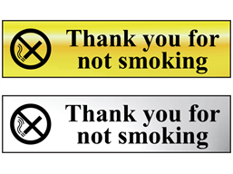 Thank you for not smoking metal doorplate