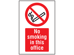 No smoking in this office symbol and text safety sign.
