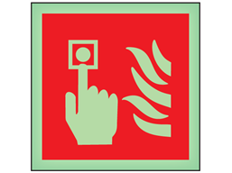 Fire point call point symbol photoluminescent safety sign