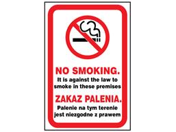 No smoking safety sign (England), English/Polish.