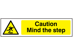 Caution Mind the step, mini safety sign.