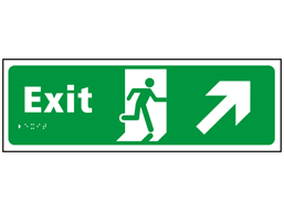 Exit, running man, arrow up right sign.
