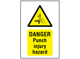 Danger Punch injury hazard symbol and text safety sign.