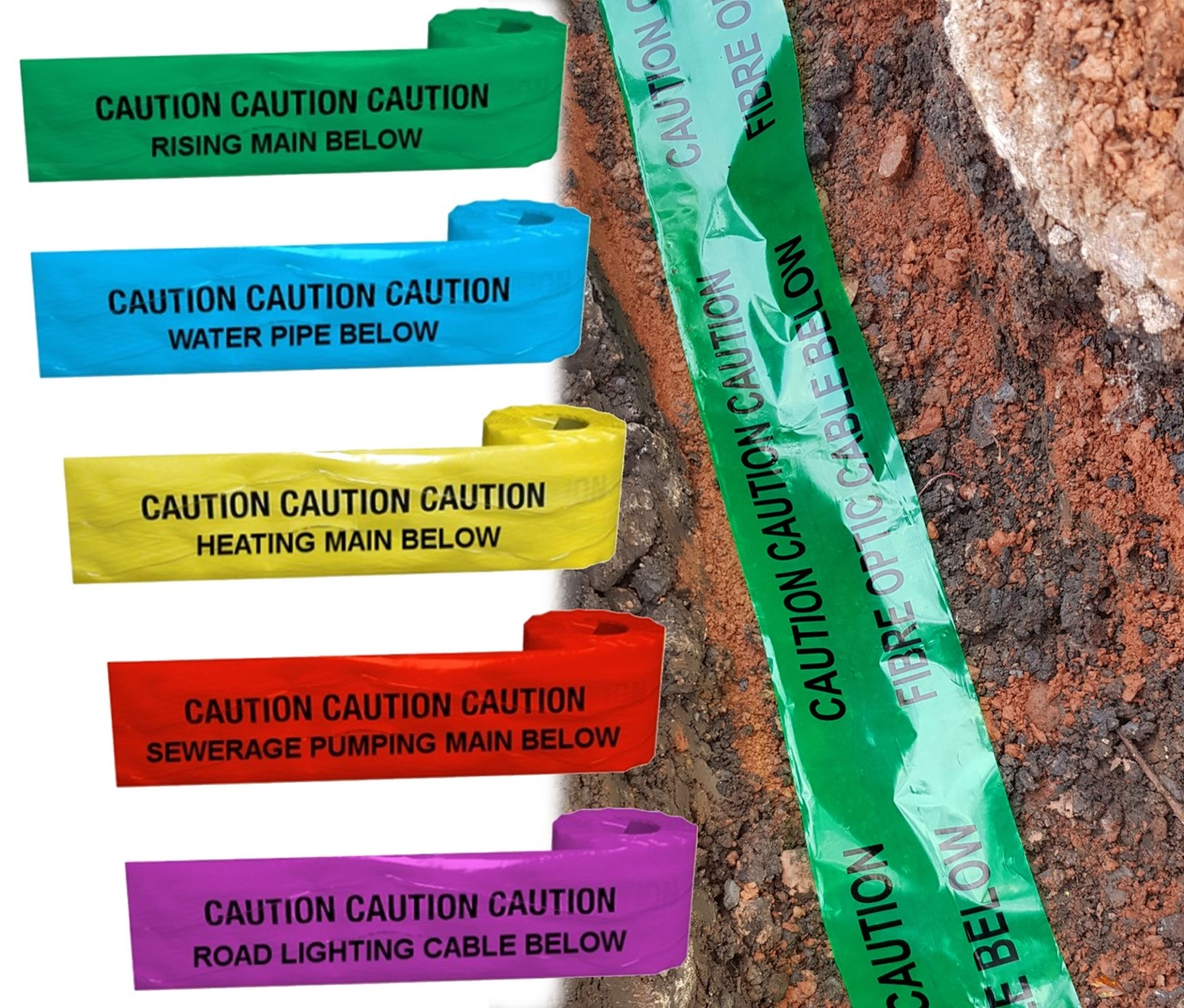 image of detectable warning tape underground