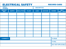 Portable appliance test record card | PAT1 | Label Source